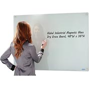 Magnetic Glass Whiteboard - 48 x 36 - White