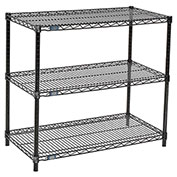"Nexel™ 3-Shelf Black Wire Shelf Printer Stand, 36""W x 18""D x 34""H"