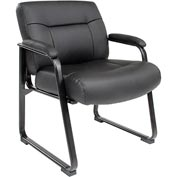 Big and Tall Waiting Room Chair - Leather - Mid Back - Black