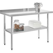 "Stainless Steel Workbench - 48""W x 24""D with 2"" Backsplash and Undershelf"