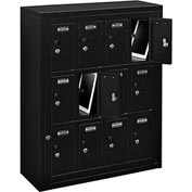 Global™ 12 Doors Tablet & Cell Phone Locker with Keyed Lock & Hasp and Master Door Open–Black