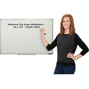 Melamine Dry Erase Whiteboard - 36 x 24 - Double Sided