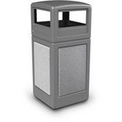 42 Gallon StoneTec® 72041199 Square Receptacle with Dome Lid - Gray w/Ashtone Panels