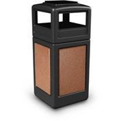 42 Gallon StoneTec® 72051499 Square Receptacle with Ashtray Lid - Black w/Sedona Panels