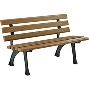 4'L Park Bench With Backrest - Tan
