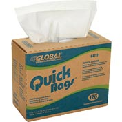 Global™ Quick Rags™ General Purpose Pop-Up Wipers White, 126 Sheets/Box, 10 Boxes/Case
