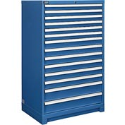 """Global™ Modular Drawer Cabinet, 14 Drawers, w/Lock, w/o Dividers, 36""""Wx24""""Dx57""""H Blue"""