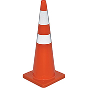 "36"" Traffic Cone, Reflective, Solid Orange Base, 10 lbs"