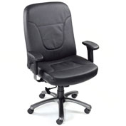 Big and Tall Office Chair with Arms - Leather - High Back - Black