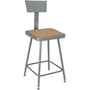 "Shop Stool with Backrest - Steel - Adjustable Height 18"" - 27"" - Gray - Pkg Qty 2"