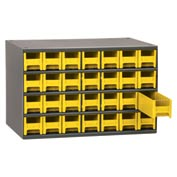 "Akro-Mils Steel Small Parts Storage Cabinet 19228 - 17""W x 11""D x 11""H w/ 28 Yellow Drawers"