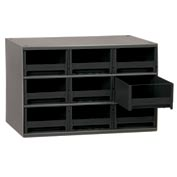 "Akro-Mils Steel Small Parts Storage Cabinet 19909 - 17""W x 11""D x 11""H w/ 9 Black Drawers"