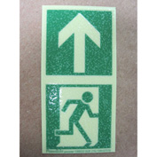 "Photoluminescent Directional Marker for Floors - Man Running + Arrow, 2""W x 4""L"