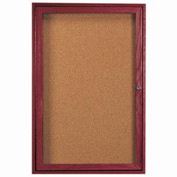 "Aarco 1 Door Cherry Enclosed Bulletin Board - 24""W x 36""H"