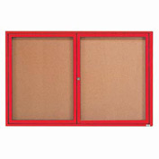 "Aarco 2 Door Framed Enclosed Bulletin Board Red Powder Coat - 72""W x 48""H"