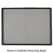 "Aarco 2 Door Radius Design Bulletin Board w/ Tempered Glass Medium Grey - 48""W x 36""H"