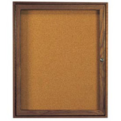 "Aarco 1 Door Walnut Enclosed Bulletin Board - 30""W x 36""H"