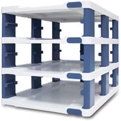 Araven 19862 - Food Storage Container Tower, PP, Holds (3) 1/2 Size Containers W/Lids, White & Blue