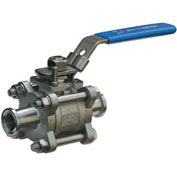 """1"""" 3-Pc SS Sanitary Clamp End Ball Valve With Manual Locking Handle"""