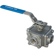 "1-1/2"" 3-Way L-Port SS 150# Flanged Ball Valve With Lockable Lever Handle"