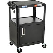 "Steel Cart, Adj. 26"" To 42"" w/ Locking Security Cabinet And Electric"
