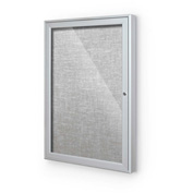 "Balt® Outdoor Enclosed Bulletin Board Cabinet,1-Door 24""W x 36""H, Silver Trim, Platinum"