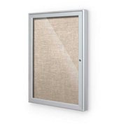 "Balt® Indoor Enclosed Bulletin Board Cabinet,1-Door 30""W x 36""H, Silver Trim, Cotton"