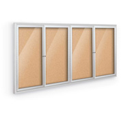 "Balt® Deluxe Indoor Enclosed Bulletin - 4 Door - Cork - Silver Aluminum Frame - 96""W x 48""H"