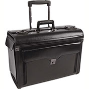 "Bond Street 546110 Leather Business Case on Wheels, 9""W x 15""H x 19""L, Black"