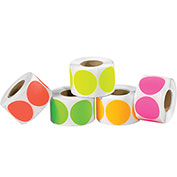 "2"" Dia. Inventory Circles in 5 Fluorescent Colors 5000 Pack"