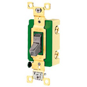 Bryant 3002GRY Industrial Grade Toggle Switch, 30A, 120/277V AC, Double Pole, Gray