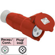 Bryant 416R6S Splashproof Receptacle, 3 Pole, 4 Wire, 16A, 380-415V AC, Red