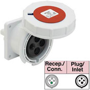 Bryant 416R6W Receptacle, 3 Pole, 4 Wire, 16A, 380-415V AC, Red