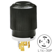 Bryant 71430NP TECHSPEC® Plug, L14-30, 30A, 125/250V, Black/White