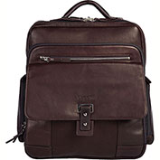 "Bugatti BKP8086 Columbian Leather Computer Backpack, 6""W x 15""H x 14.5""L, Brown"