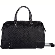 Bugatti DUFW23109 Smooth Textured Nylon Ladies Duffle on Wheels, Black