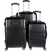 Bugatti HLG1600 3 Piece Hard Case Luggage Set, Black
