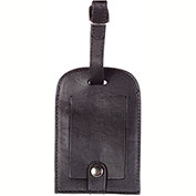 "Bugatti TAC65 Smooth Leather Luggage, ID Tag, 3""L x 4""H, Black"