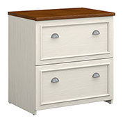 Bush Furniture Lateral File Cabinet - Antique White / Tea Maple - Fairview Series