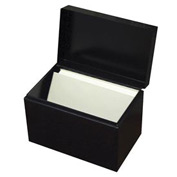 "Card File With Hinged Cover For 4"" X 6"" Index Cards - Black - Pkg Qty 6"