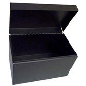 "Card File With Hinged Cover For 5"" X 8"" Index Cards - Black - Pkg Qty 6"