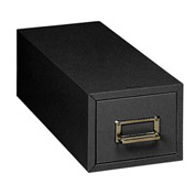 "Single Drawer Card File for 4"" X 6"" Index Cards - Black"