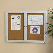 "Relius Solutions Cork Board With Aluminum Frame - 48X36"" - 2 Door- Outdoor"
