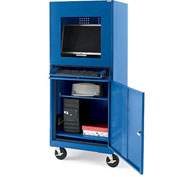 """Atlantic Metal Economical Mobile Computer Cabinet For Extreme Environments - 26X24X63"""" Blue"""