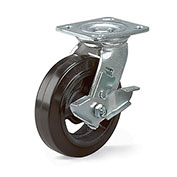 "8""Dia. x 2""W Rubber on Steel Wheel - Economical Caster - Swivel"