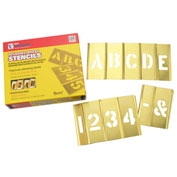 "4"" Brass Interlocking Stencil Letters and Numbers, 45 Piece Set"