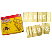 "2-1/2"" Brass Interlocking Stencil Letters and Numbers, 77 Piece Set"