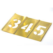 "12"" Brass Interlocking Stencil Gothic Style Numbers, 13 Piece Kit"
