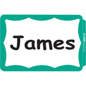 "C-Line® Pressure Sensitive Name Badge, 3-1/2"" x 2-1/4"", Green Border, 100/Box"