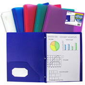 C-Line Products Two-Pocket Hvywt Poly Portfolio Folder w/Prongs, Jewel Tone Colors - Pkg Qty 12